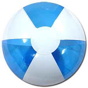 16'' Translucent Blue & White Beach Balls