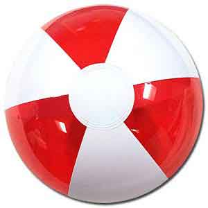 12'' Translucent Red & White Beach Balls