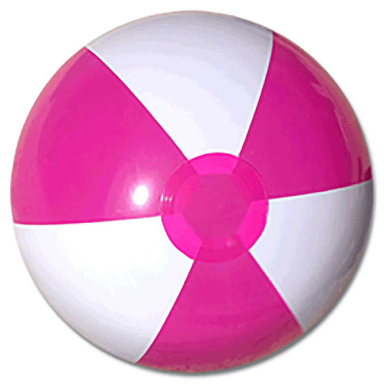 16'' Hot Pink & White Beach Balls