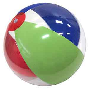 16'' Red Blue Lime Green & Clear Beach Balls