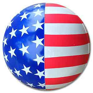 red and white striped beach balls