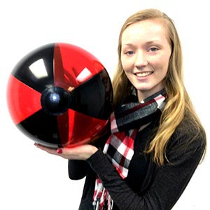 16'' Translucent Red & Black Beach Balls