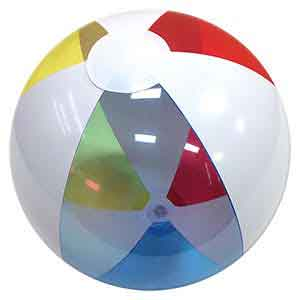 16'' Translucent Red Blue & Yellow with White