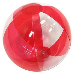 16'' Translucent Red & Clear Beach Balls