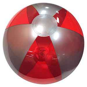 16'' Translucent Red & Silver Beach Balls