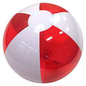 16'' Translucent Red & White Beach Balls