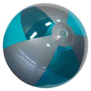 16'' Translucent Teal & Silver Beach Balls