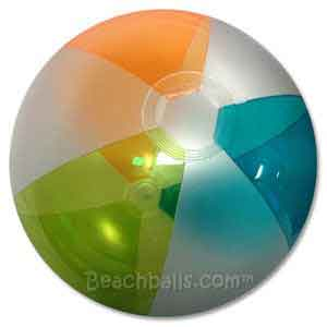 16'' Translucent Lime Orange & Teal Beach Ball