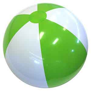 24'' Lime Green & White Beach Balls