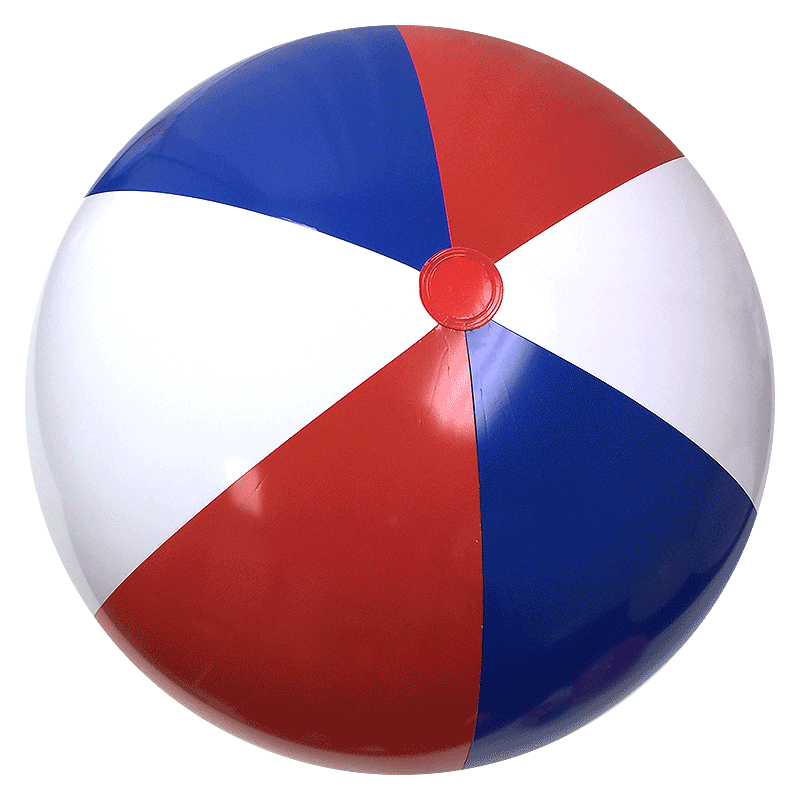 48 Inch Red White And Blue Beach Balls Inflated Diameter 35in 91cm on Transparent Translucent Opaque