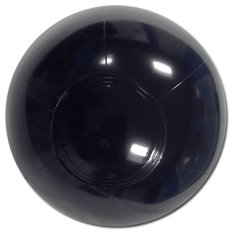 6 Inch Solid Black Beach Balls Inflated Diameter 6in 12cm on Transparent Translucent Opaque