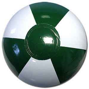 9'' Dark Green & White Beach Balls
