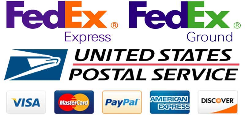 Shipping by FedEx Express, FedEx Ground & US Postal Service