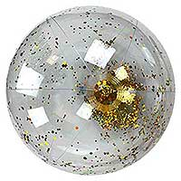 28'' Transparent Gold Glitter Beach Ball