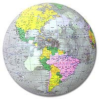 12'' Diameter Clear Political World Globe Beach Balls