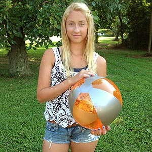 16'' Translucent Orange & Silver Beach Balls